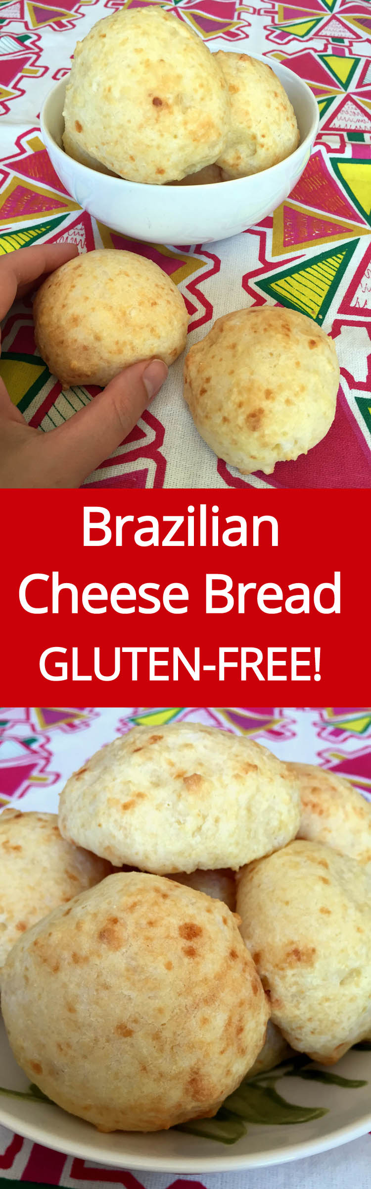 This authentic Brazilian Cheese Bread (Pao De Queijo) is naturally gluten-free and tastes amazing!