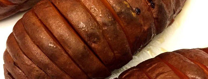 Hasselback (Accordion) Baked Sweet Potatoes (Paleo)