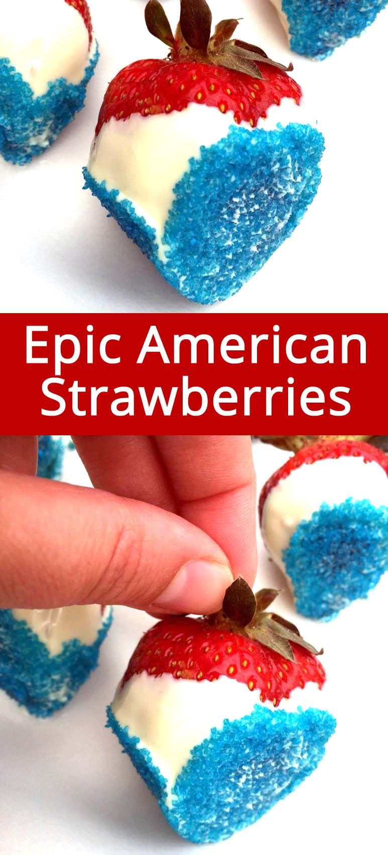 Genius idea!! I'm totally making these red, white and blue chocolate covered strawberries for 4th of July! LOVE THEM!