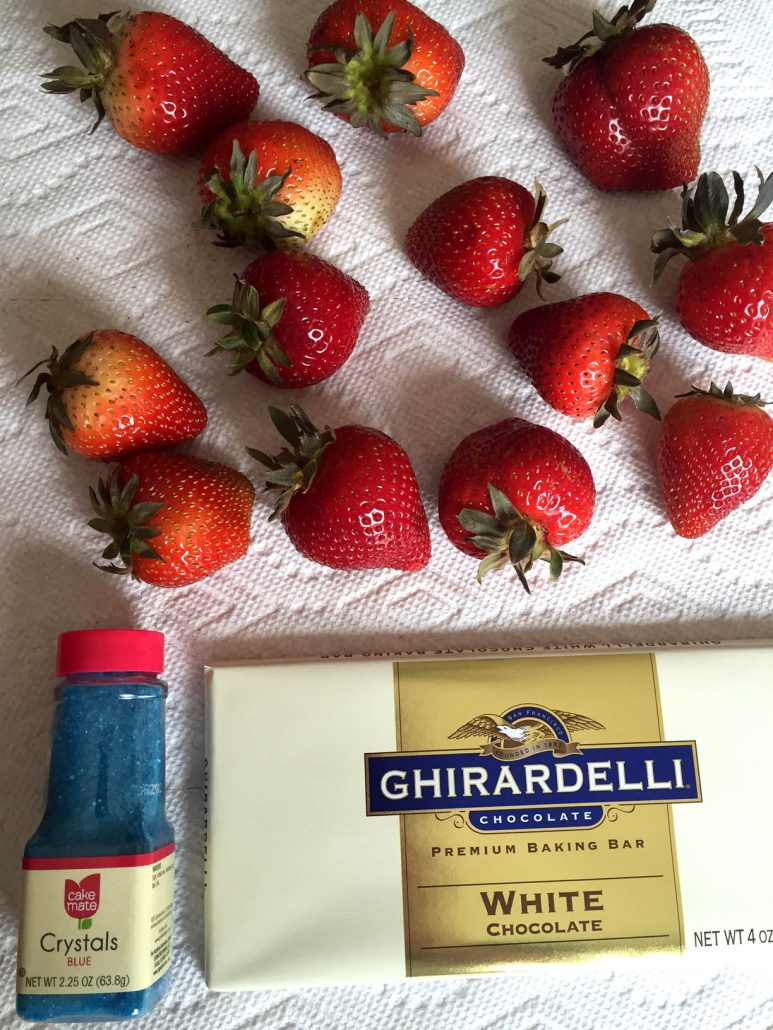 Red White and Blue Chocolate Dipped Strawberries Ingredients