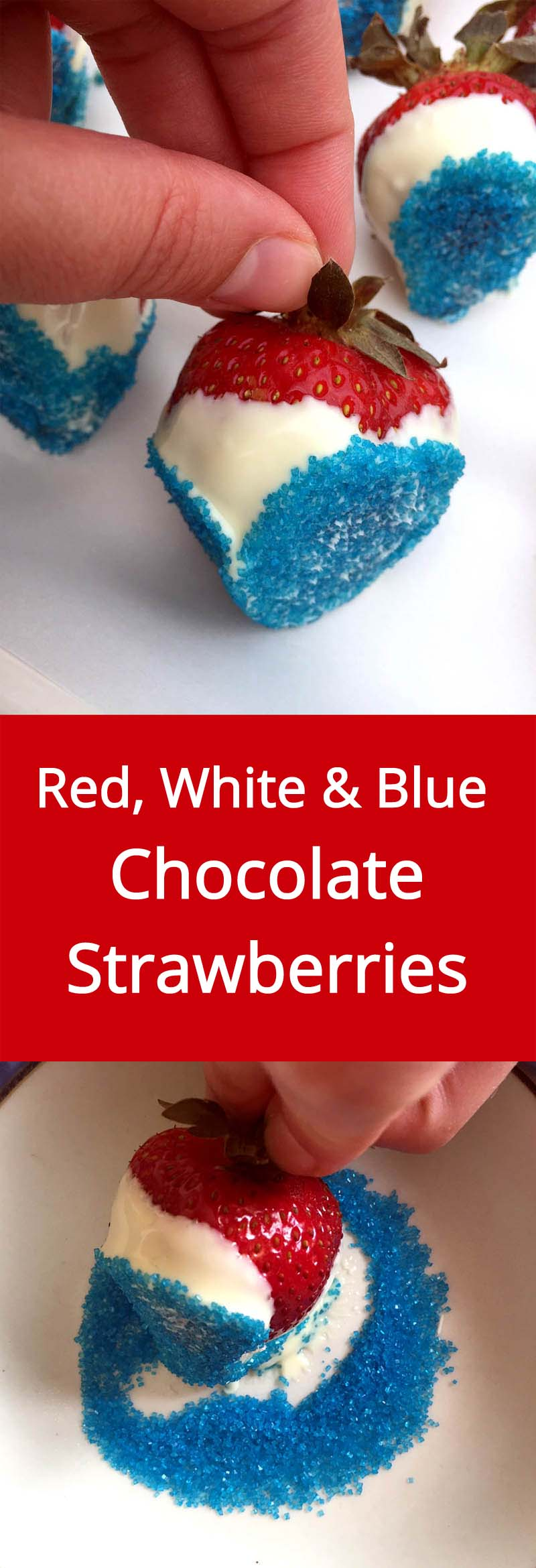 Red White and Blue Chocolate-Covered Strawberries - these make a perfect dessert for 4th of July or any other Patriotic holiday or party! | MelanieCooks.com