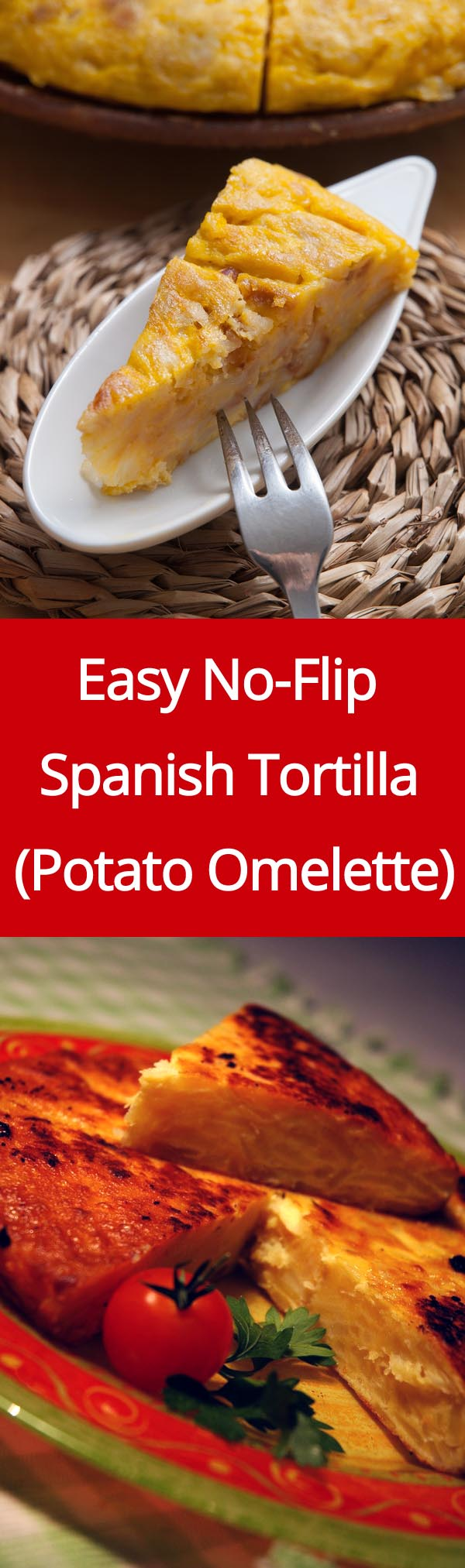 Spanish Tortilla Recipe - this is the easiest recipe for Spanish potato omelette as it doesn't require flipping!   MelanieCooks.com