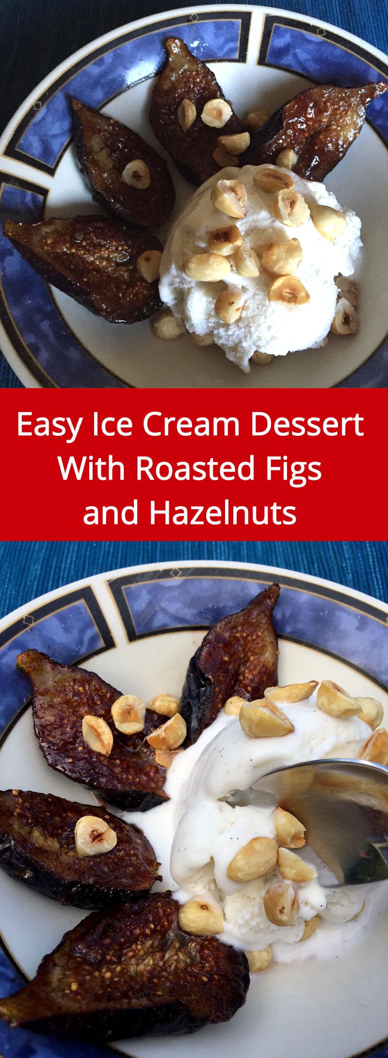 Ice Cream Dessert With Roasted Figs And Hazelnuts | MelanieCooks.com