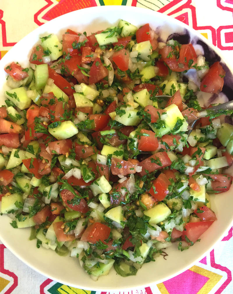 Israeli Salad Recipe With Tomatoes, Cucumbers, Onions and Parsley ...
