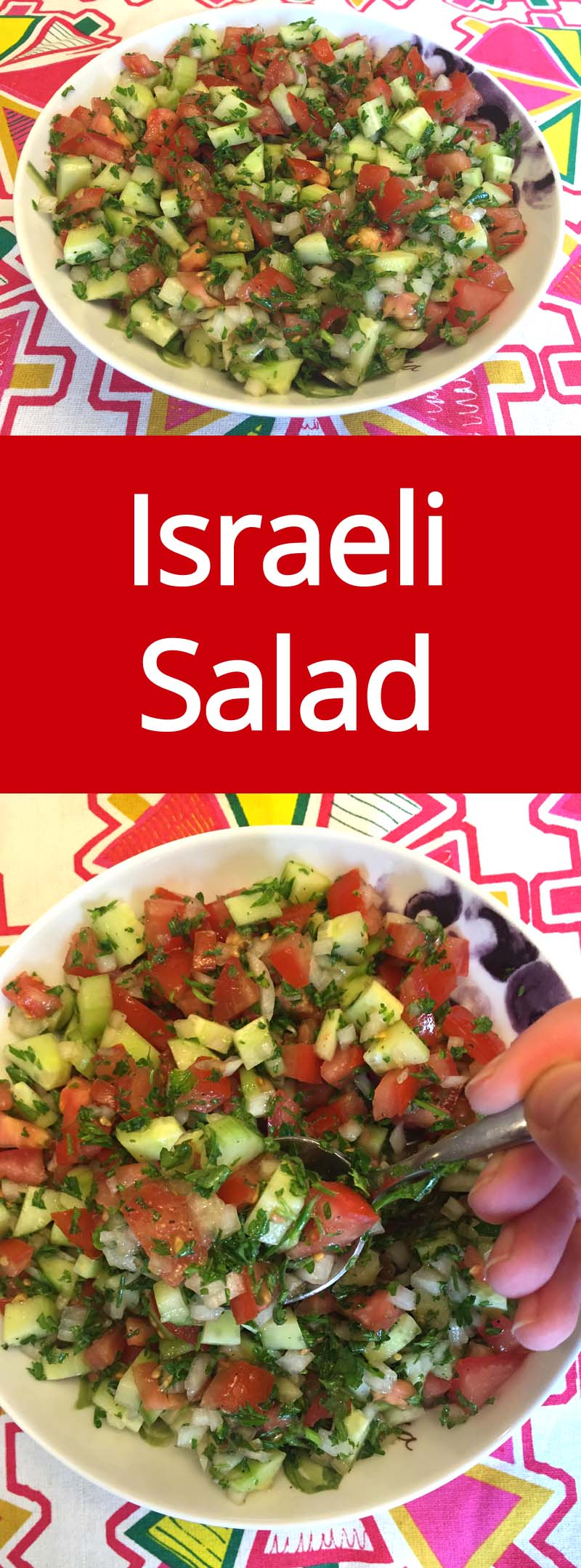 Israeli Salad Recipe With Tomatoes, Cucumber, Onions and Parsley - crunchy, healthy and easy to make! Everyone loves this salad! | MelanieCooks.com