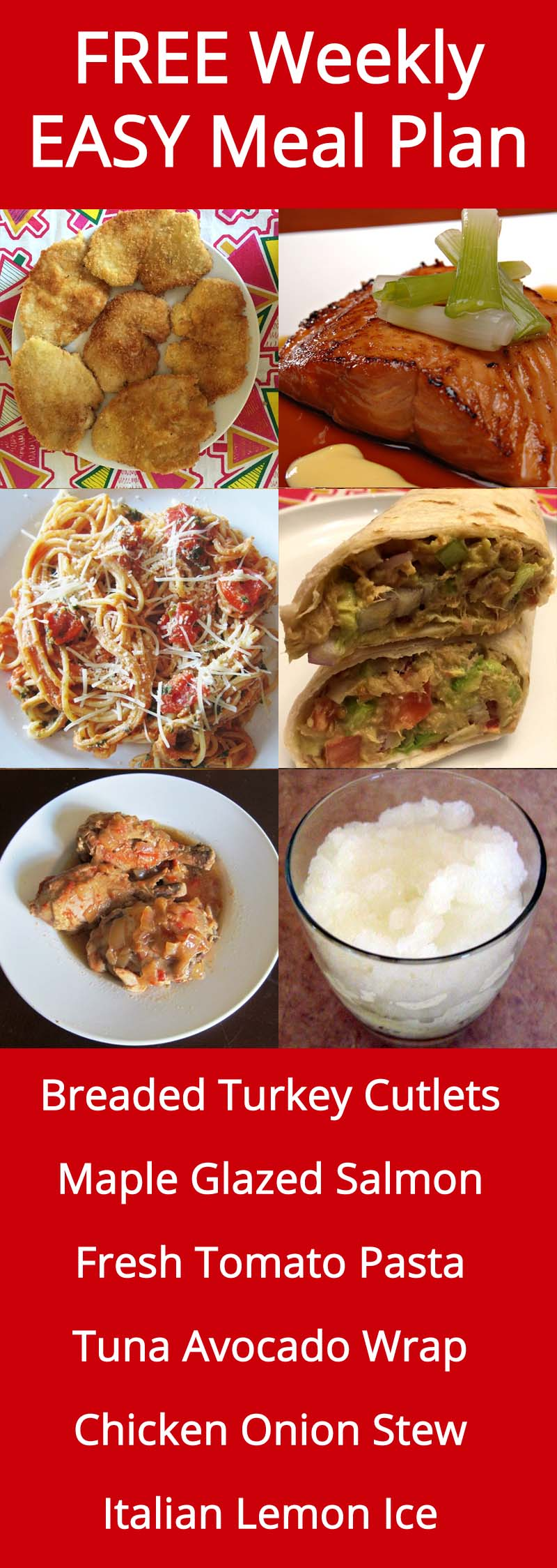 FREE Weekly Easy Family Meal Plan