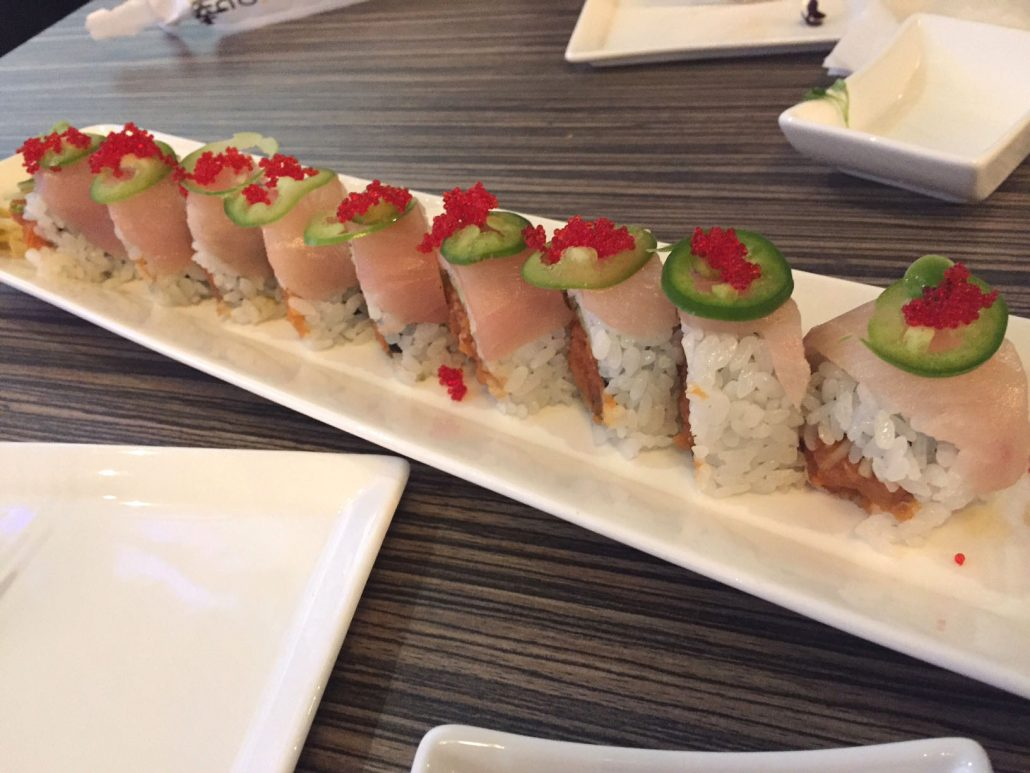 Flaming Hamachi Sushi Roll at Shakou Sushi Restaurant