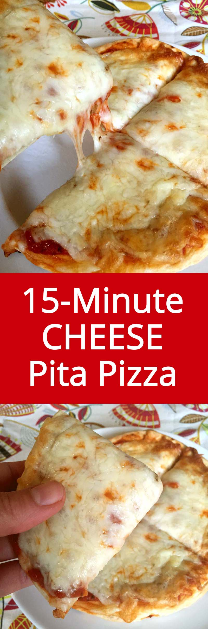 Easy 15-Minute Personal Cheese Pita Pizza Recipe - The Easiest Dinner Ever! | MelanieCooks.com