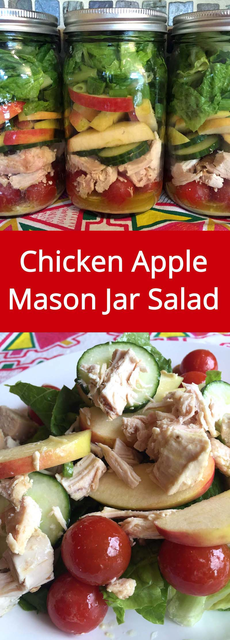 Chicken Apple Mason Jar Salad - make a week's worth of healthy lunches in 20 minutes or less!   MelanieCooks.com