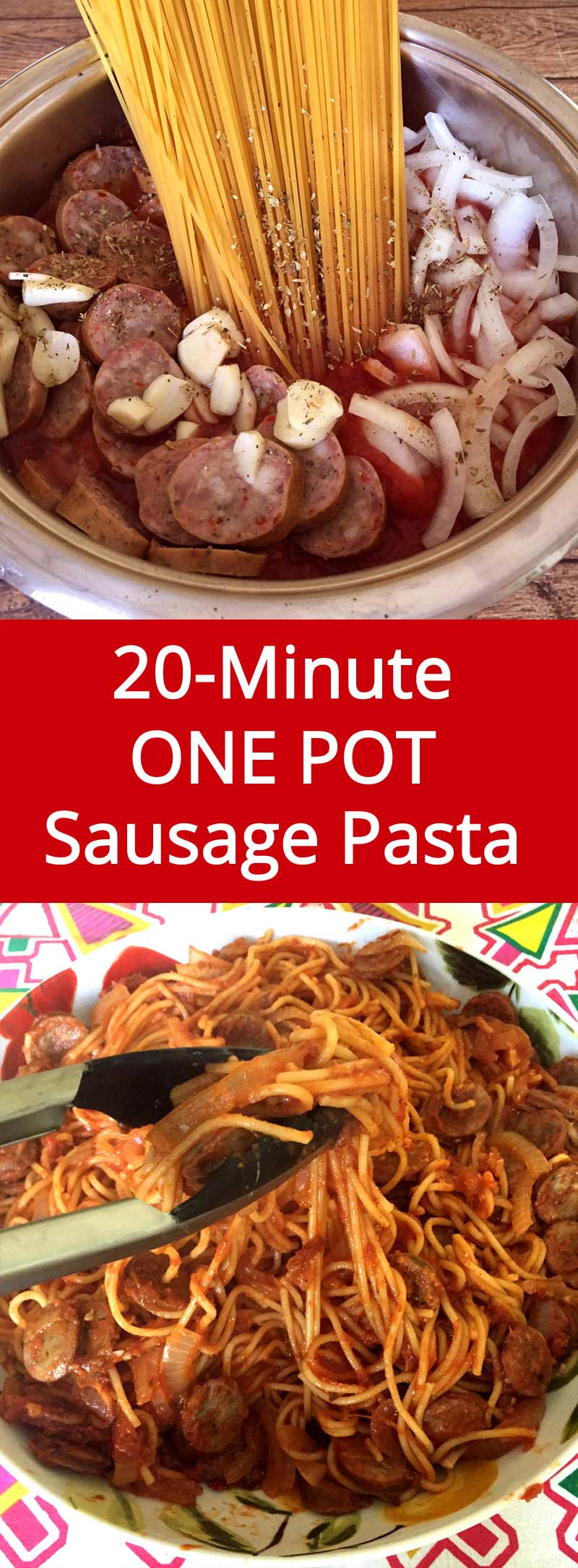 Easy 20-Minute One Pot Sausage Recipe - ready in 20 minutes from start to finish, and you'll have only one pot to clean – genius!