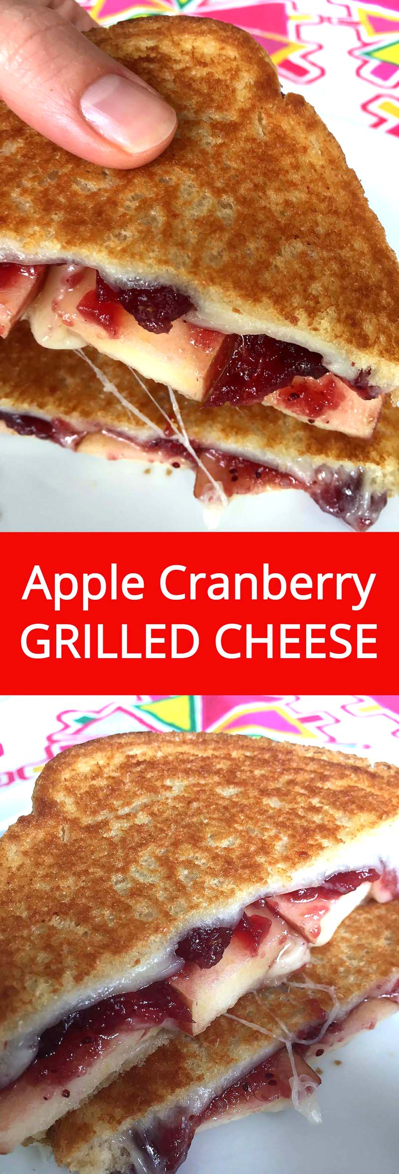 Apple Cranberry Grilled Cheese - mouthwatering!  I love this grilled cheese! | MelanieCooks.com