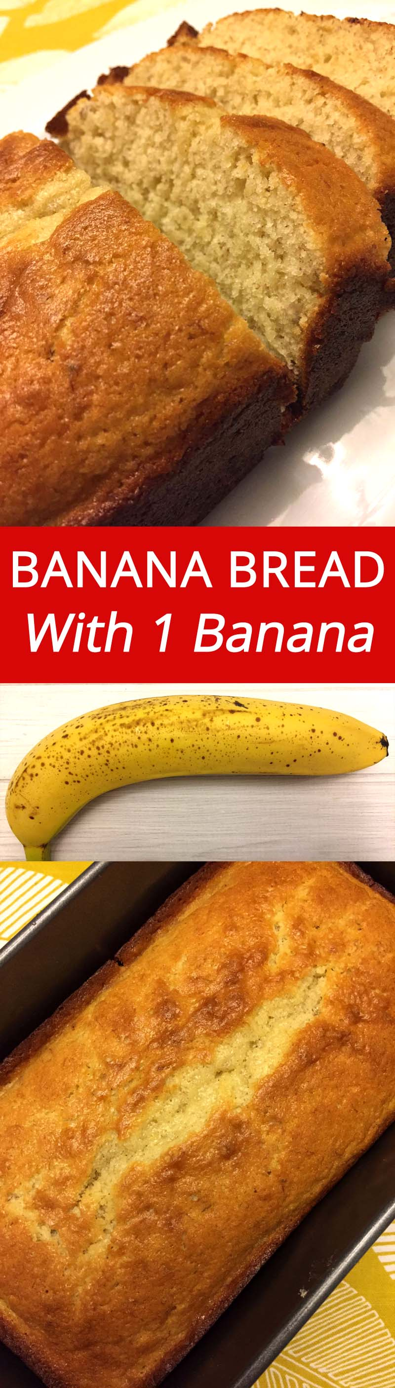 One Banana Banana Bread :)  YUM YUM YUM! Using just 1 overripe banana, this banana bread is so delicious! | MelanieCooks.com