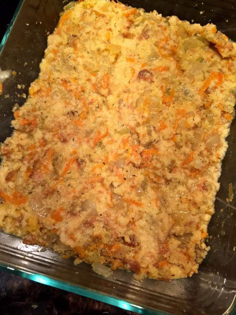 Homemade Cornbread Dressing In A Baking Dish