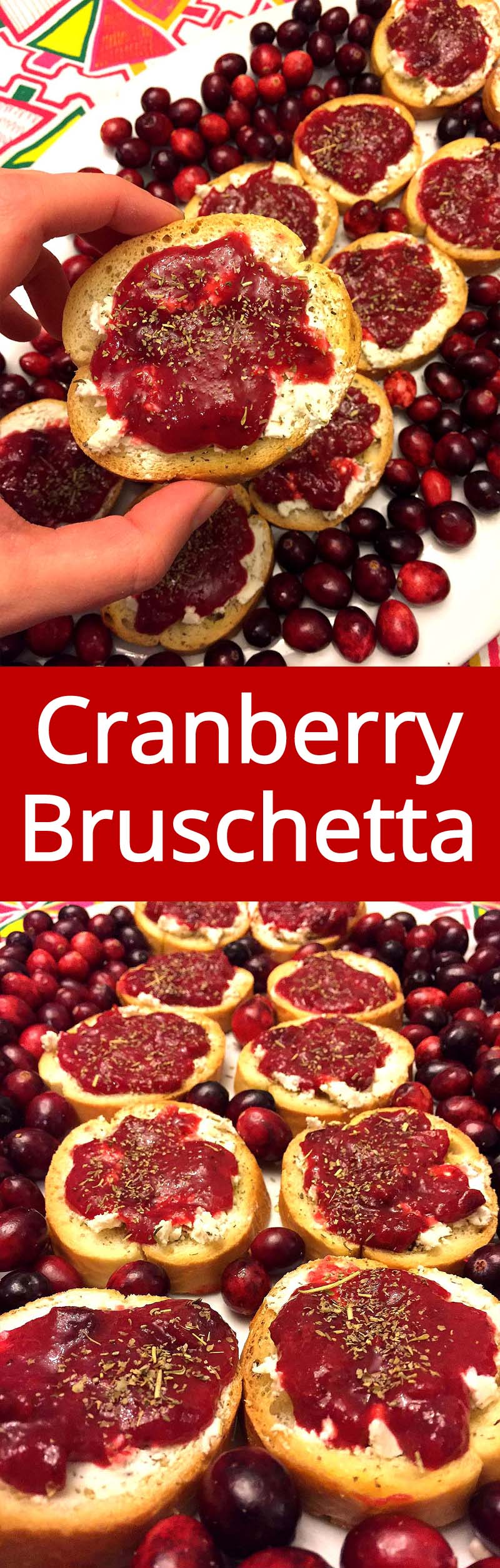 Cranberry Goat Cheese Bruschetta Appetizer - so festive, easy to make and yummy! | MelanieCooks.com