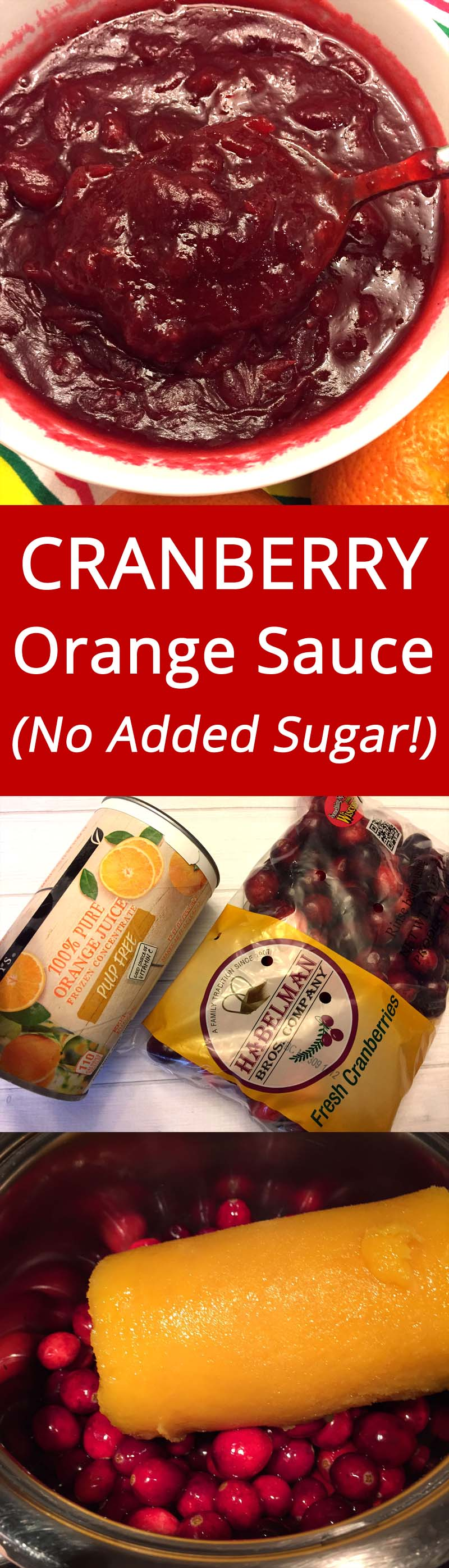 Healthy Cranberry Orange Sauce With NO ADDED SUGAR - this is genius! | MelanieCooks.com
