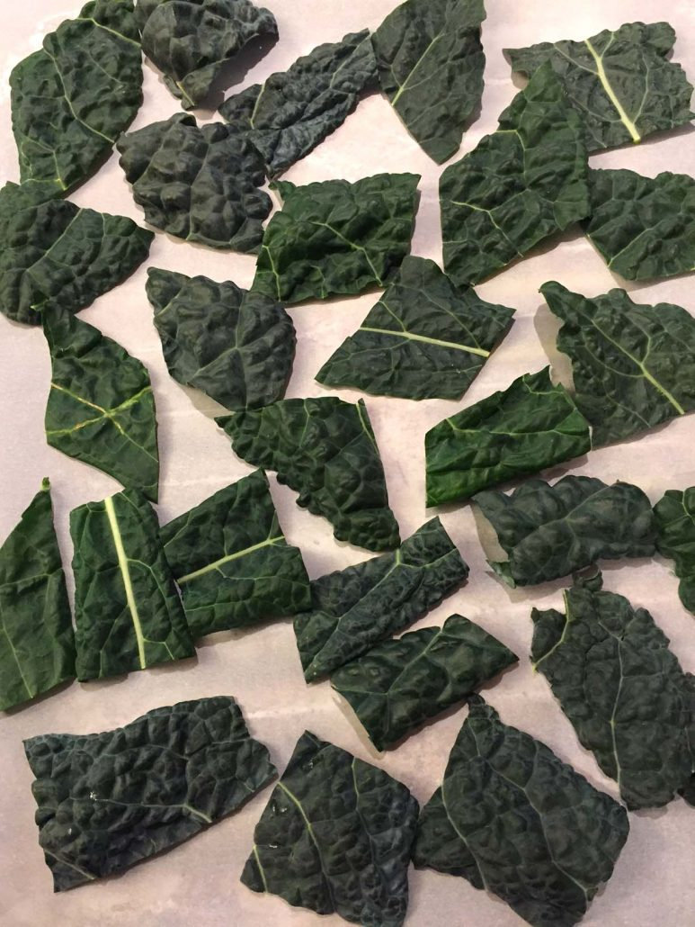 Kale Chips Before Baking In The Oven