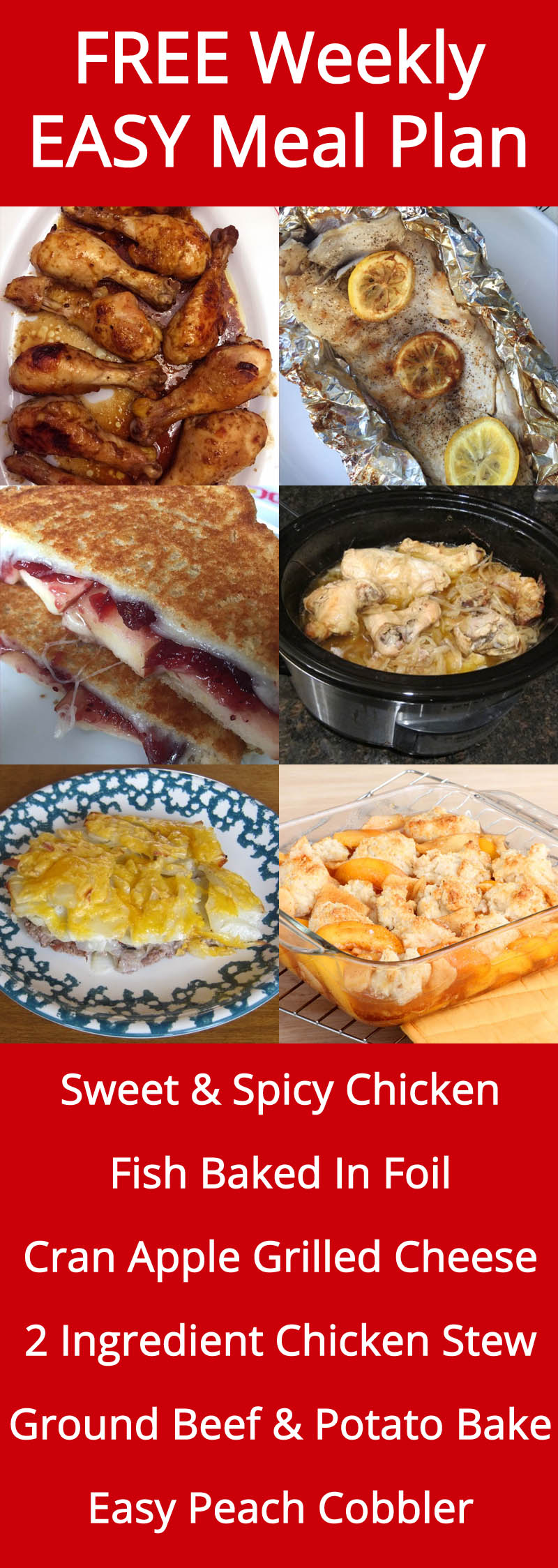 FREE Weekly Meal Plan With Easy And Yummy Recipes!   MelanieCooks.com