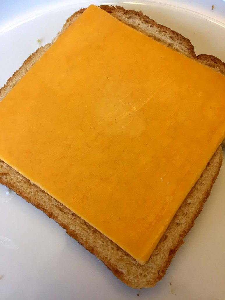 Cheese slice on bread