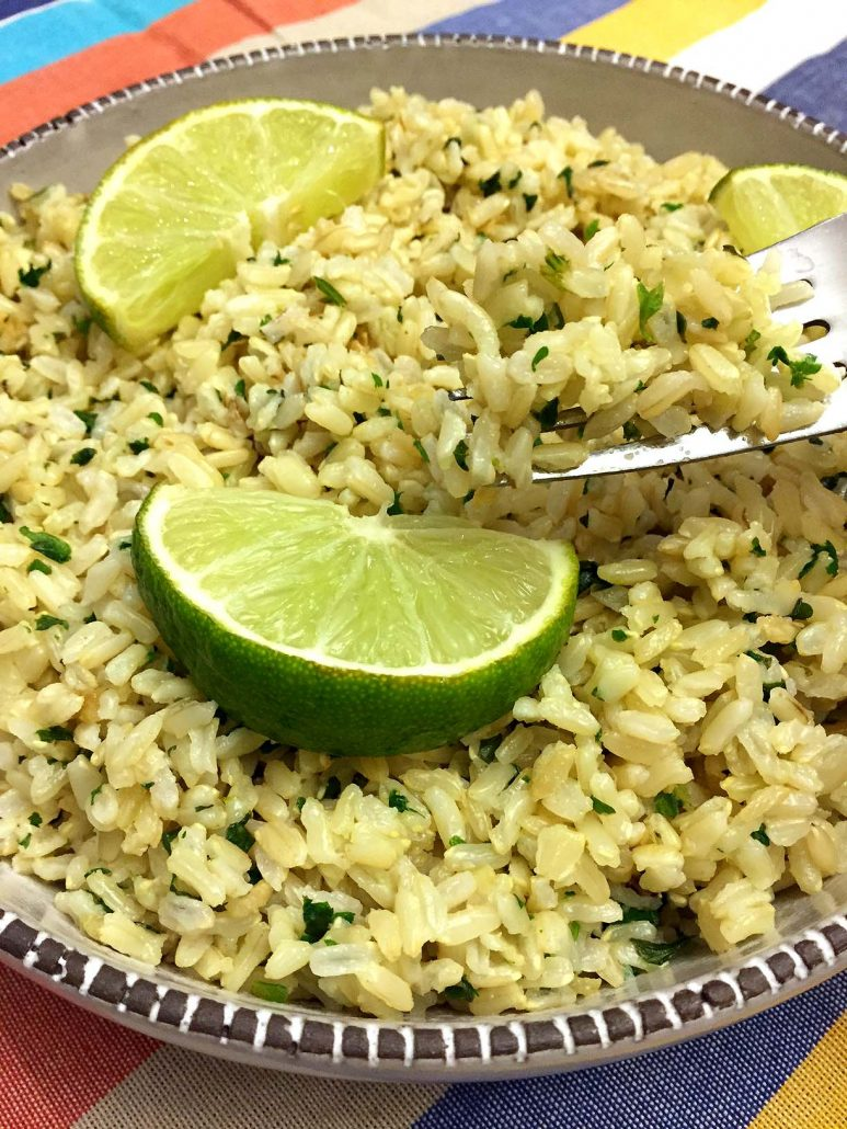 Chipotle cilantro lime rice white or brown copycat for Rice recipes to go with fish