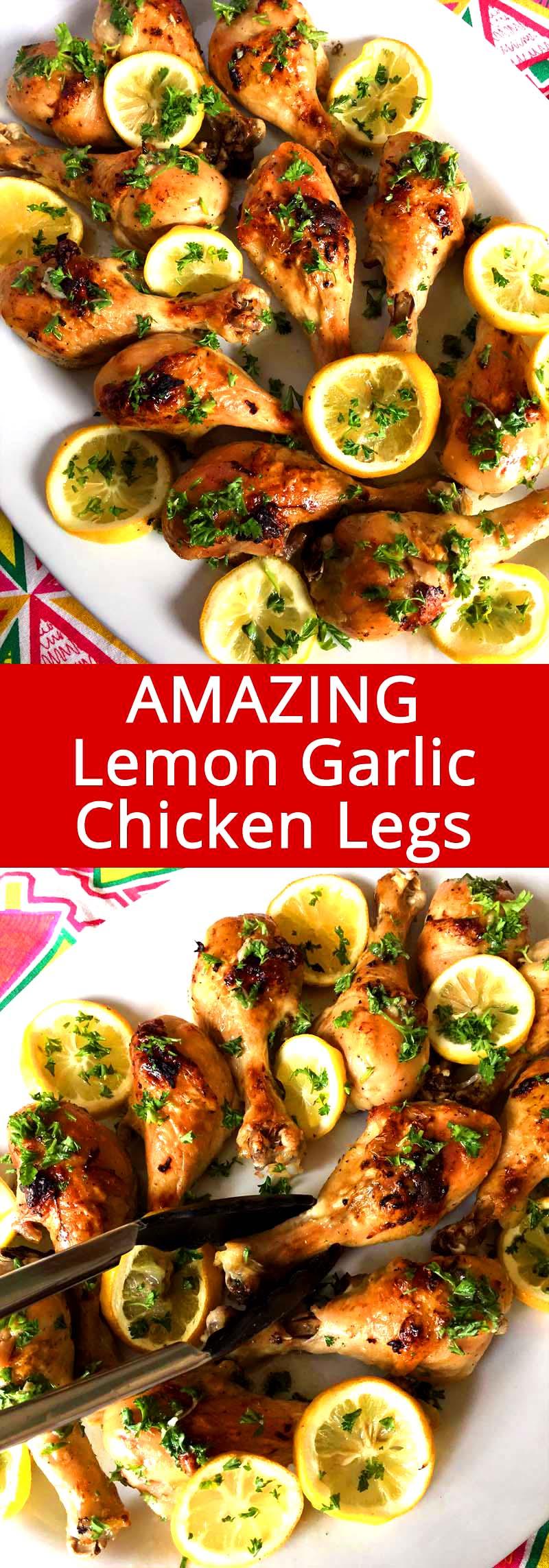 Easy Baked Lemon Garlic Chicken Legs Recipe Melanie Cooks