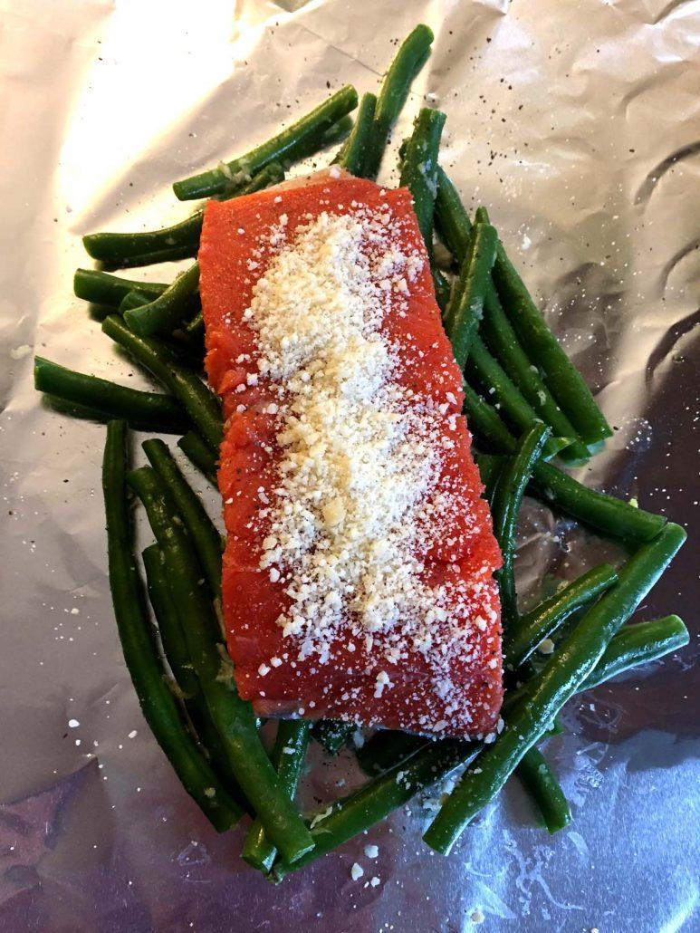 Parmesan salmon in foil