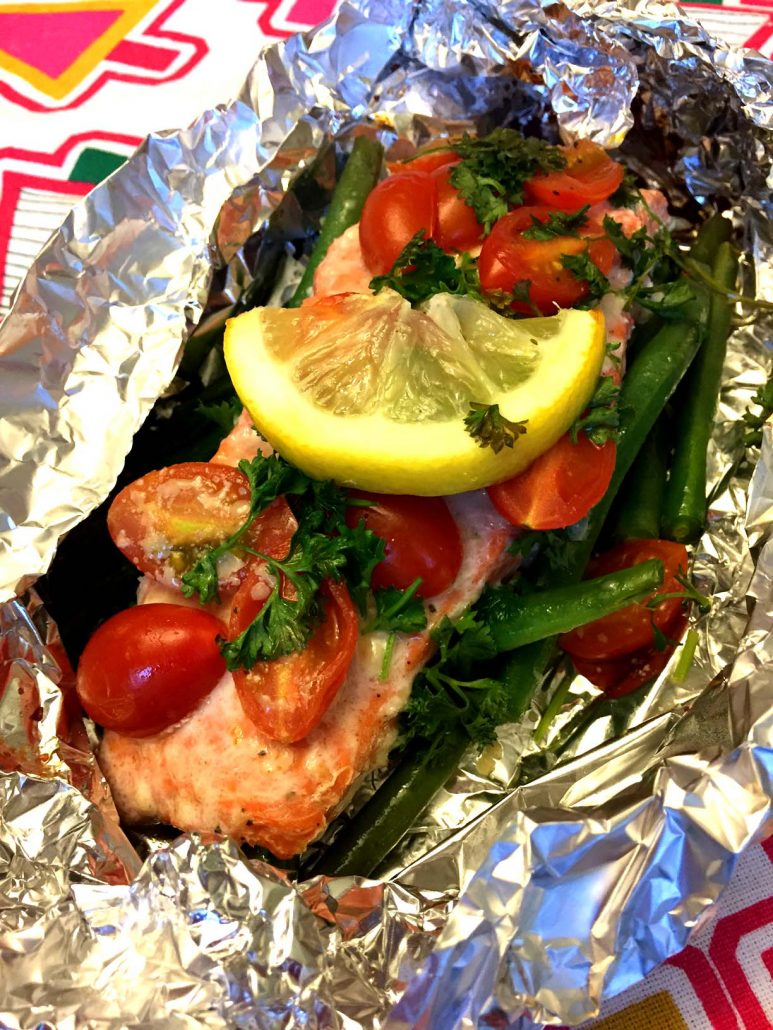 Garlic salmon and summer vegetables in foil packets grilled or salmon with vegetables in foil packets ccuart Gallery