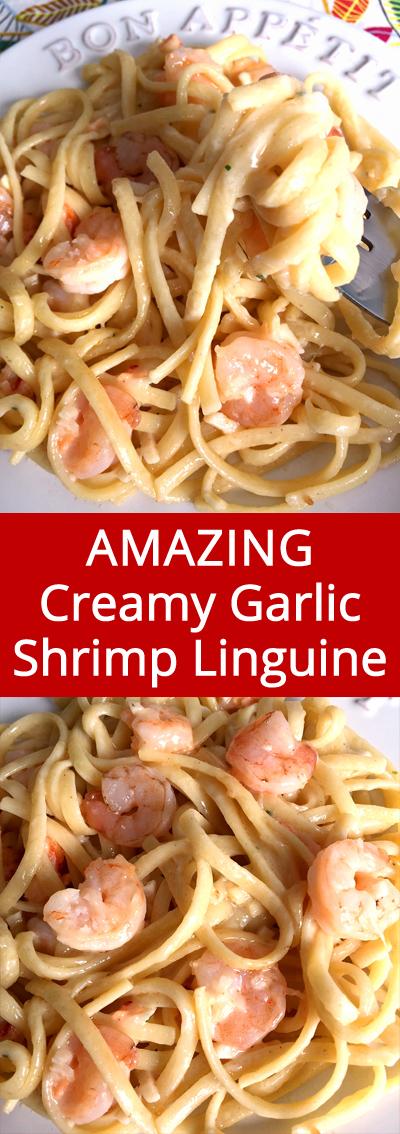 Easy Creamy Garlic Shrimp Linguine Seafood Pasta Recipe Melanie Cooks