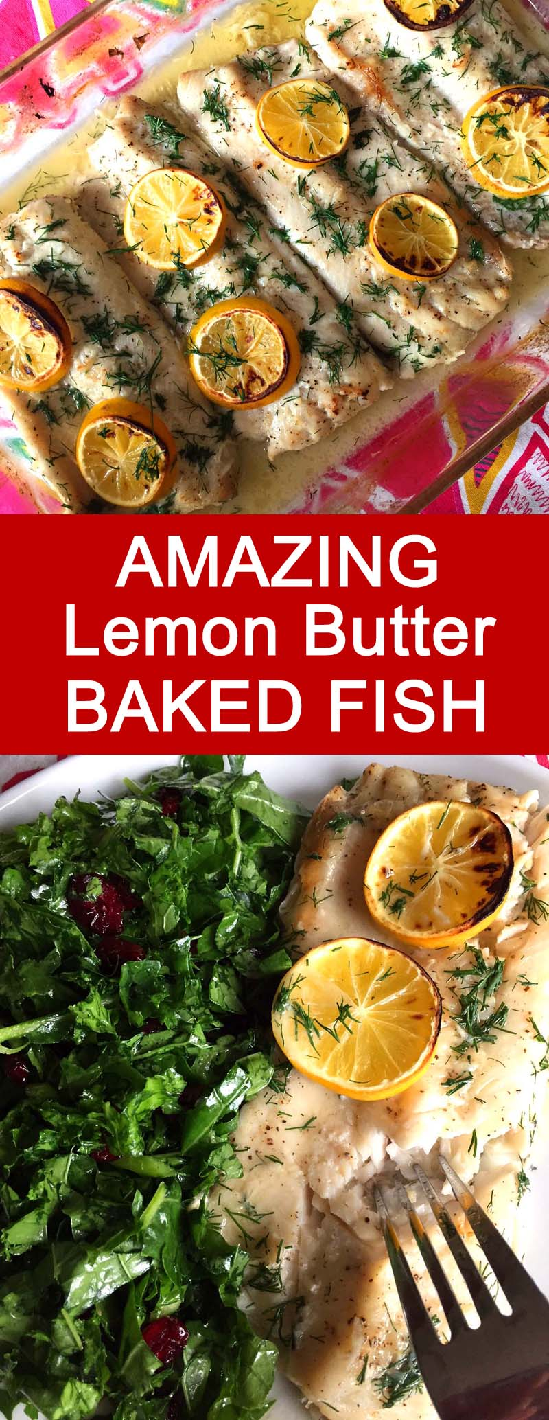This baked lemon butter fish is amazing! A perfect easy recipe to make with tilapia or white fish, this one is a keeper! This lemon butter garlic sauce is so flavorful!