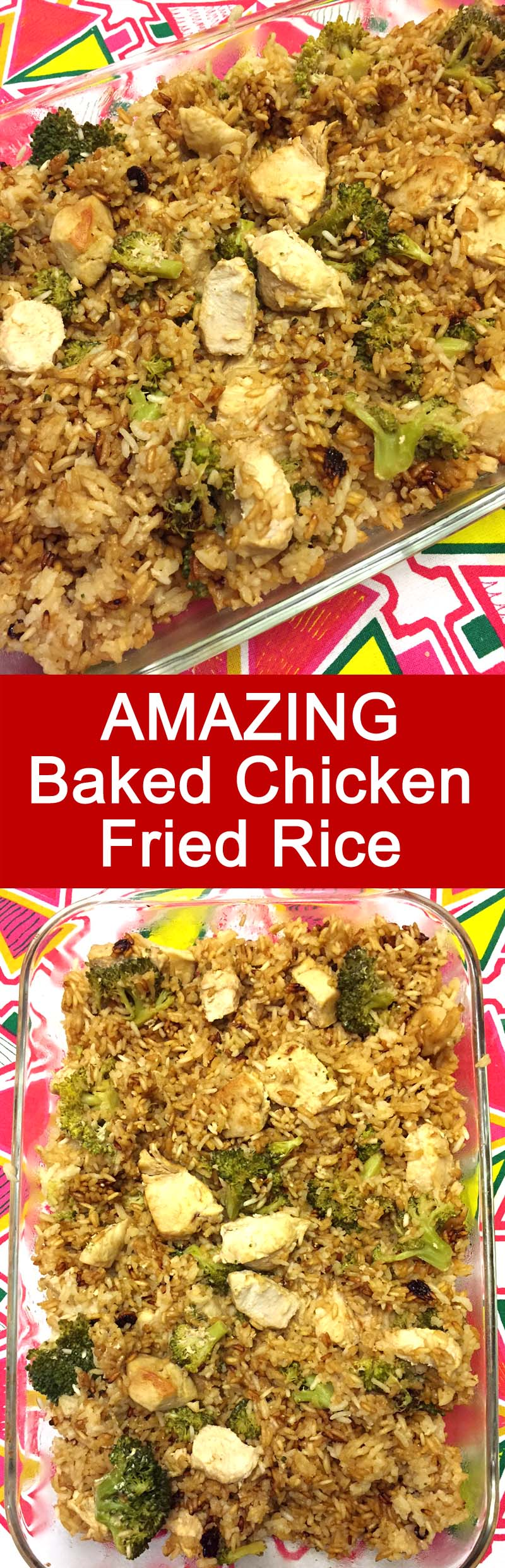 I love this baked chicken fried rice casserole! This is a perfect weeknight meal, so easy and yummy!