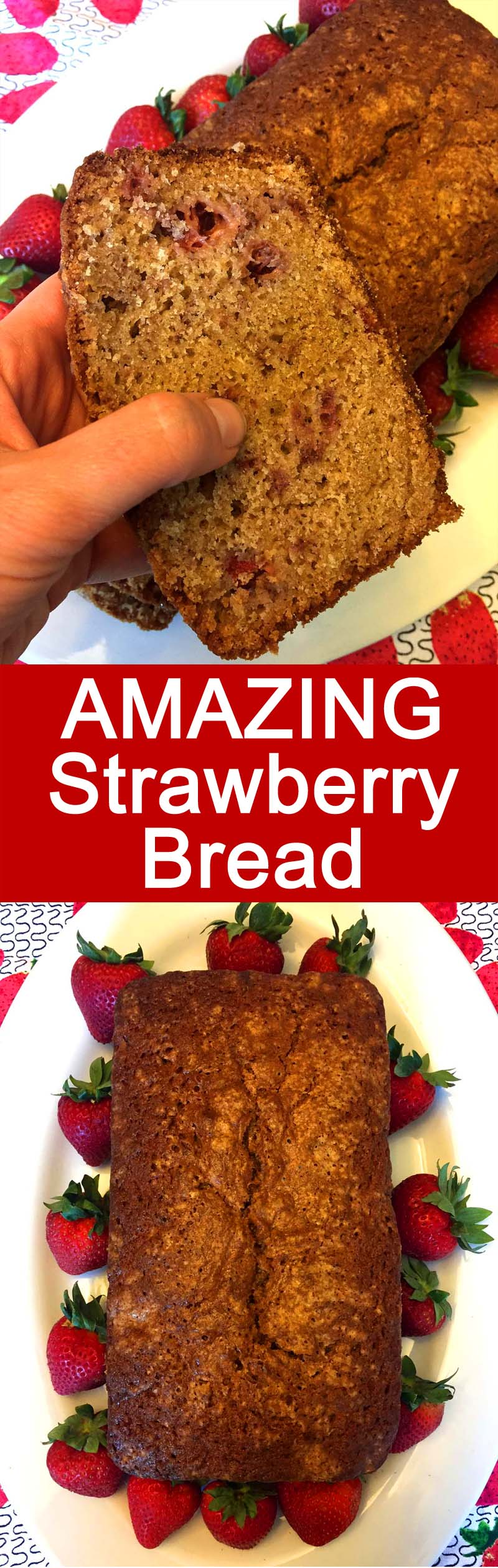 This homemade strawberry bread is amazing! Made with fresh strawberries and tastes so good! I love this strawberry bread for breakfast!