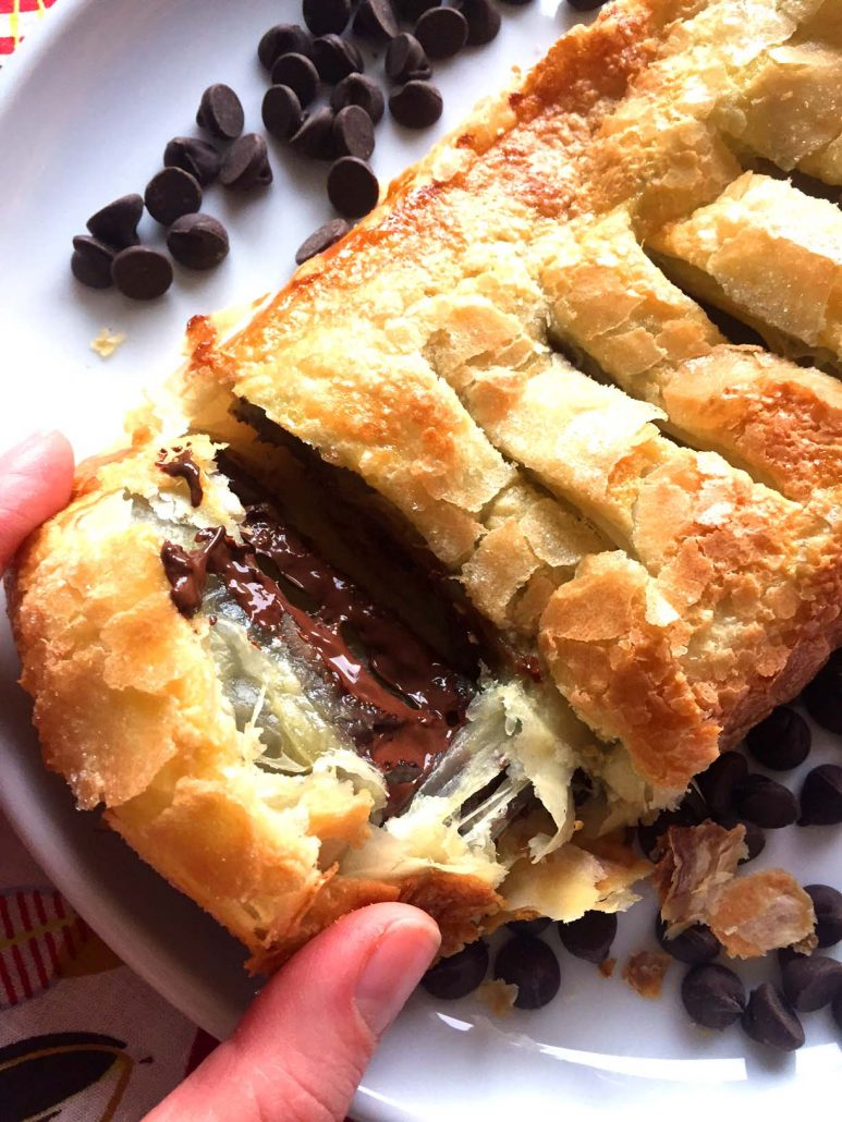 Chocolate Puff Pastry Roll Easy Recipe