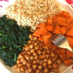 Vegan Buddha Bowl With Sweet Potatoes, Chickpeas, Spinach and Brown Rice