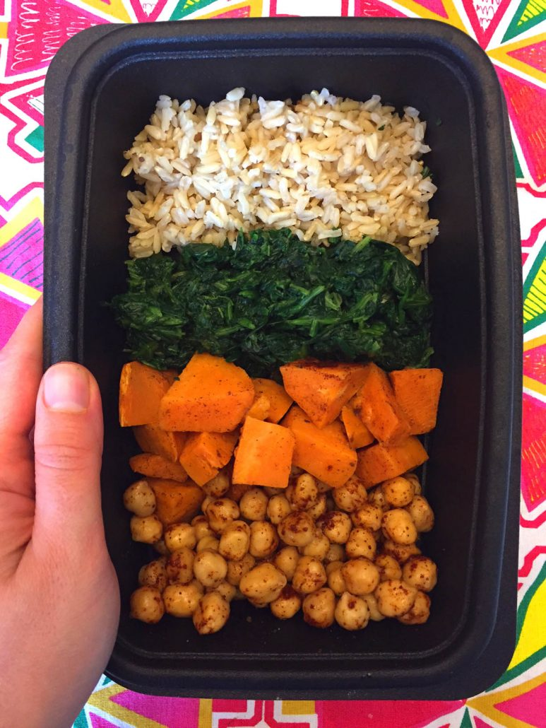 Vegan Meal Prep - Chickpeas, Sweet Potatoes, Spinach and Brown Rice