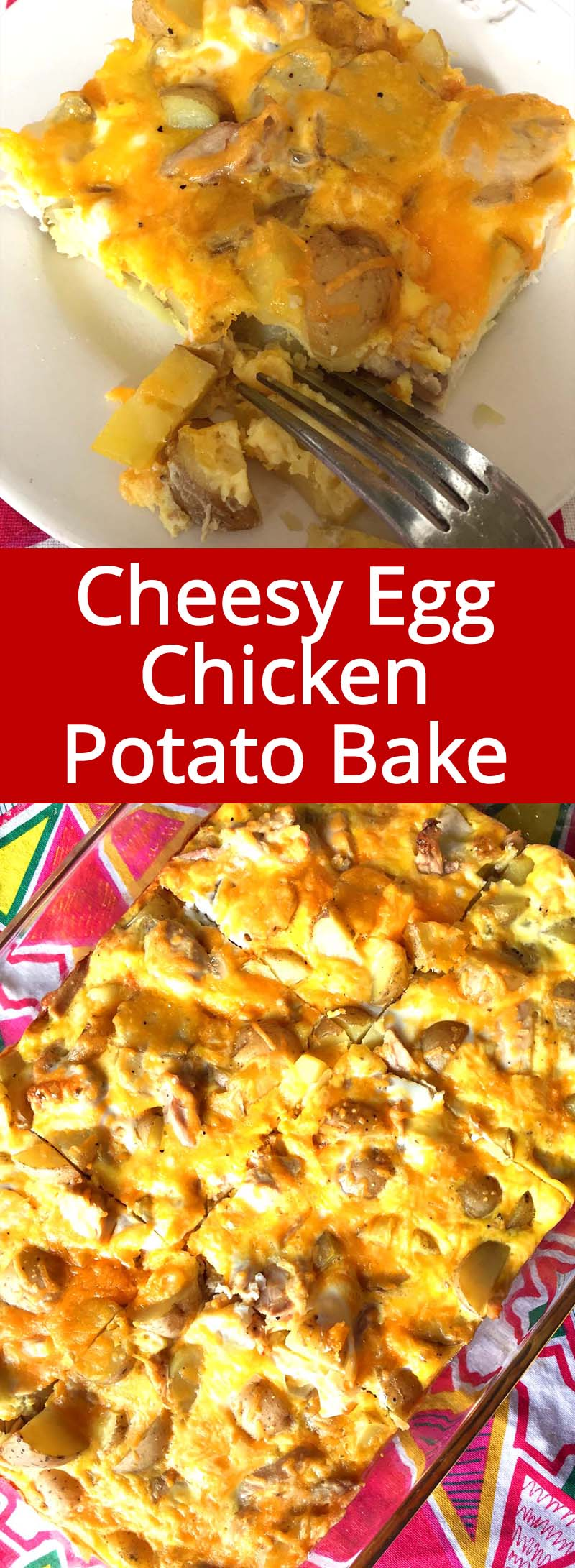 Eggs + Potatoes + Chicken + Cheese = YUM! This breakfast casserole bake is so filling and delicious!