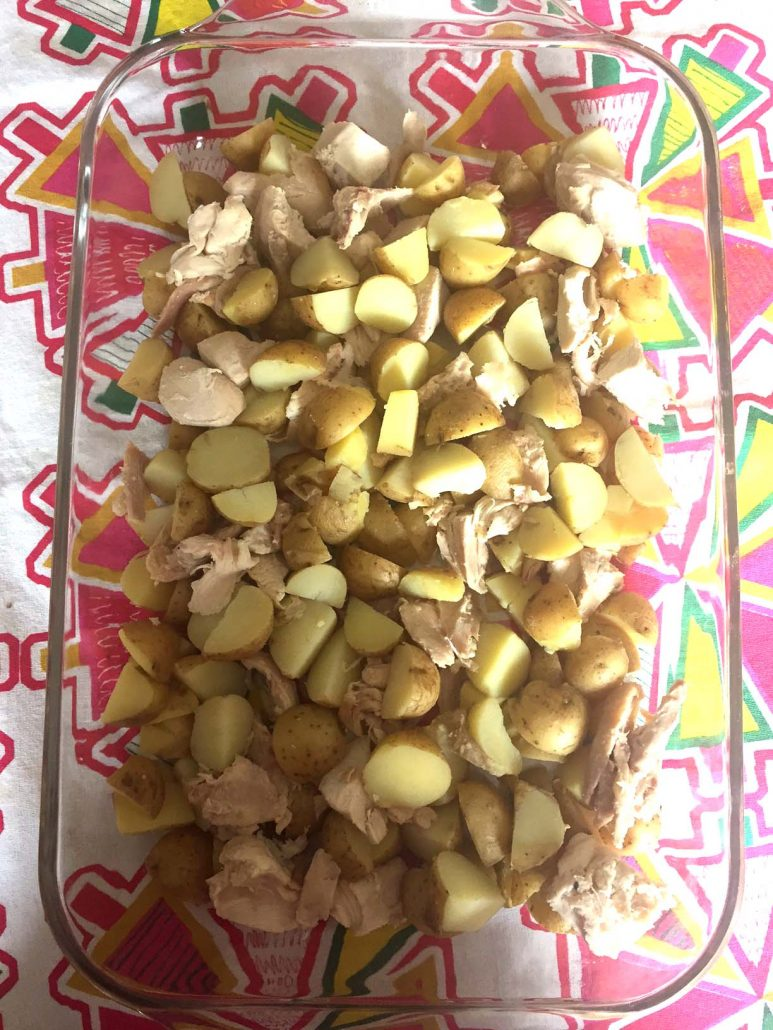 Cooked chicken and potatoes