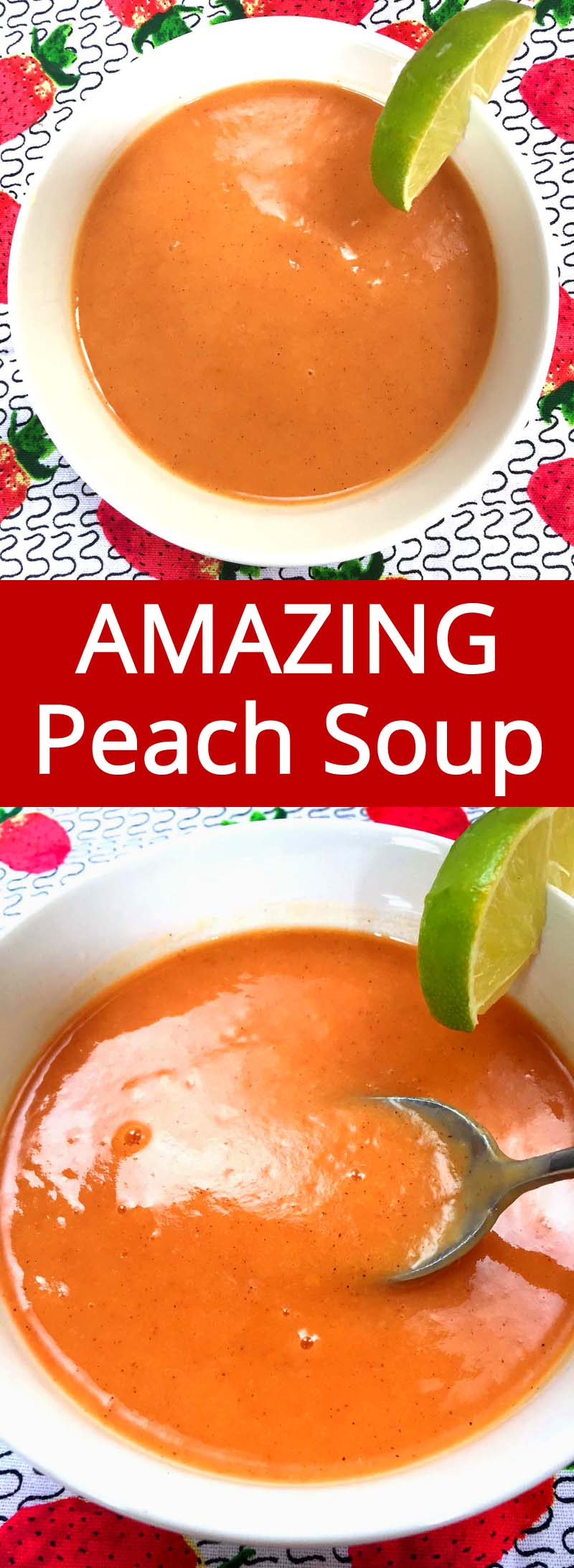 This chilled peach soup is simply amazing! Super easy to make and tastes so good! Perfect for a hot summer day!