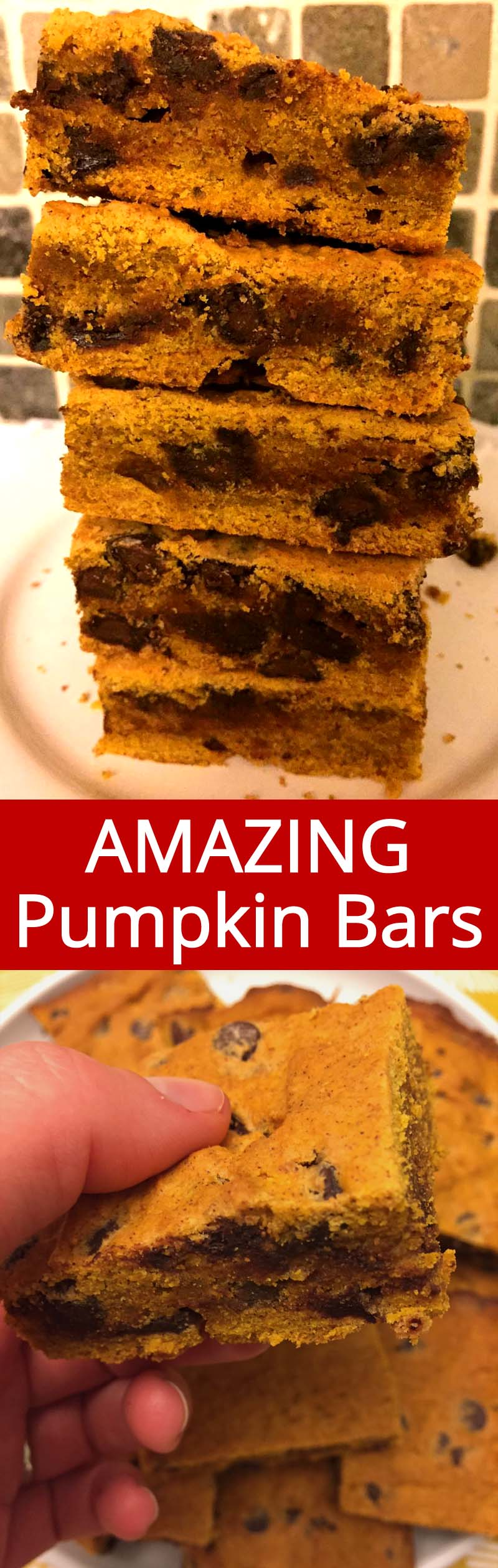 These chocolate chip pumpkin bars are truly amazing! Best pumpkin squares ever, so easy to make and so delicious! These pumpkin bars are my favorite pumpkin dessert recipe!