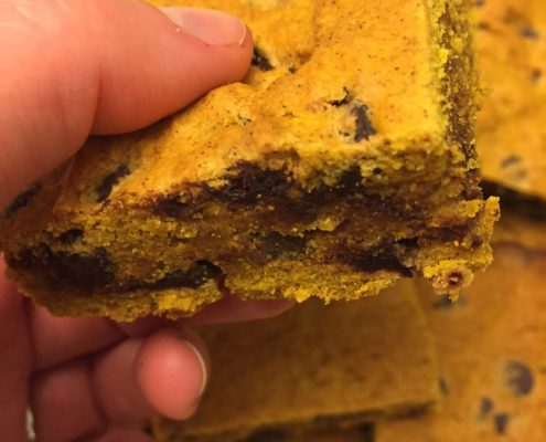 Pumpkin Bars Squares With Chocolate Chips