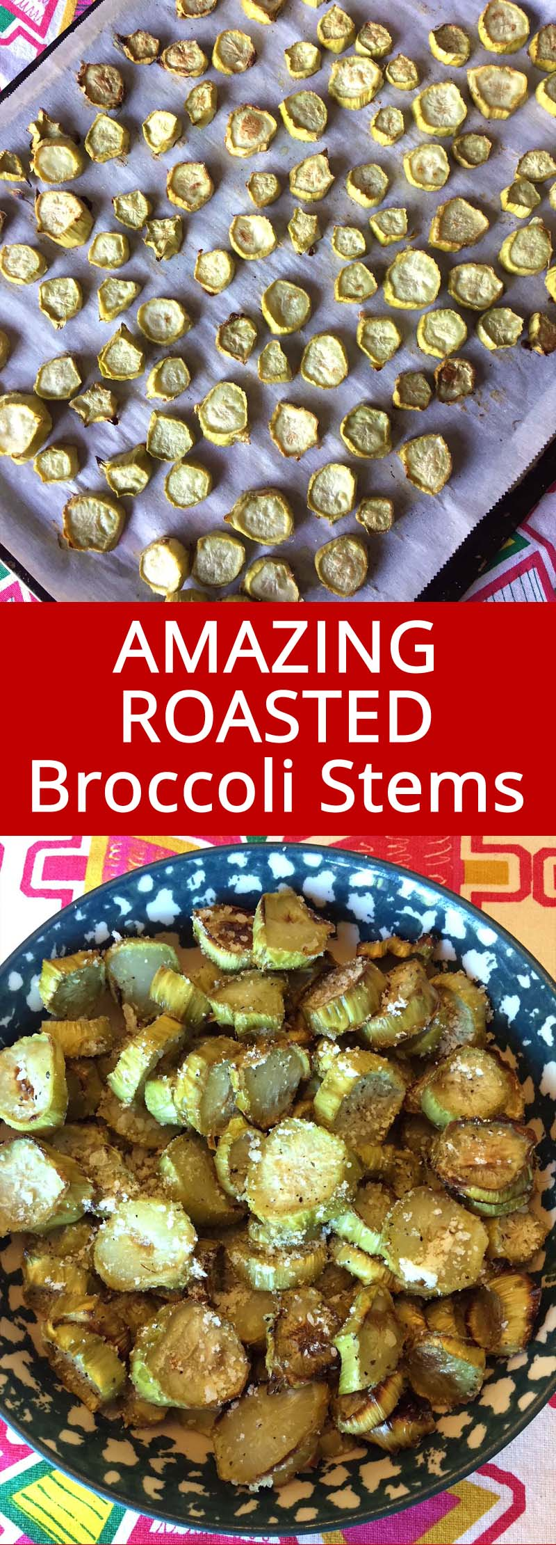 Roasted Broccoli Stems recipe - so good! Perfect way to use up broccoli stalks!