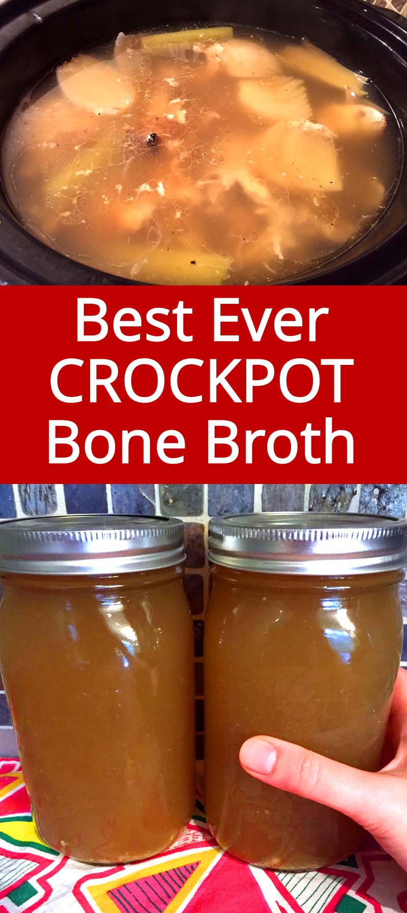 Making bone broth in a slow cooker is so easy, it just makes itself! What a perfect use for Rotisserie chicken bones!