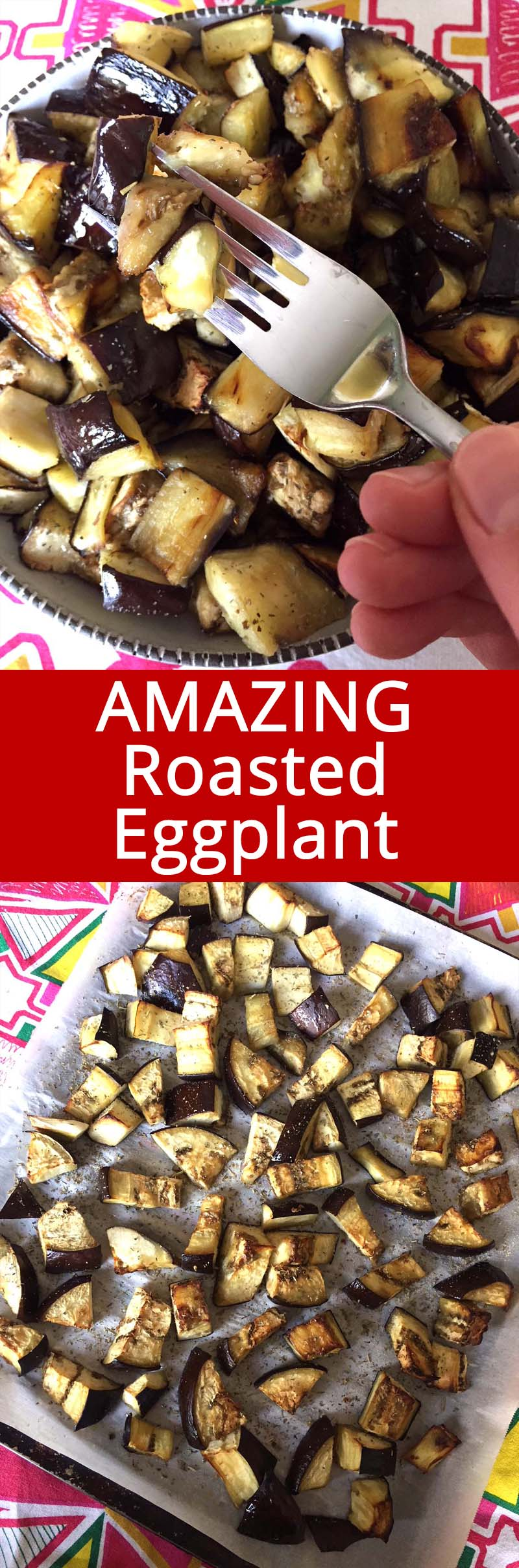 These roasted eggplant cubes are so easy to make, healthy and yummy! I love oven roasted eggplant!