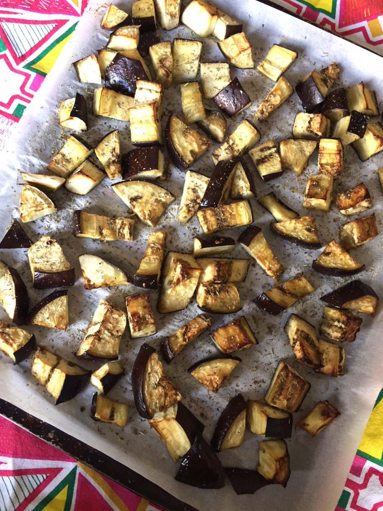 How To Make Roasted Eggplant Cubes