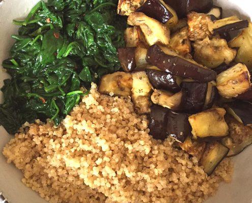 Vegan Eggplant Spinach Quinoa Bowl