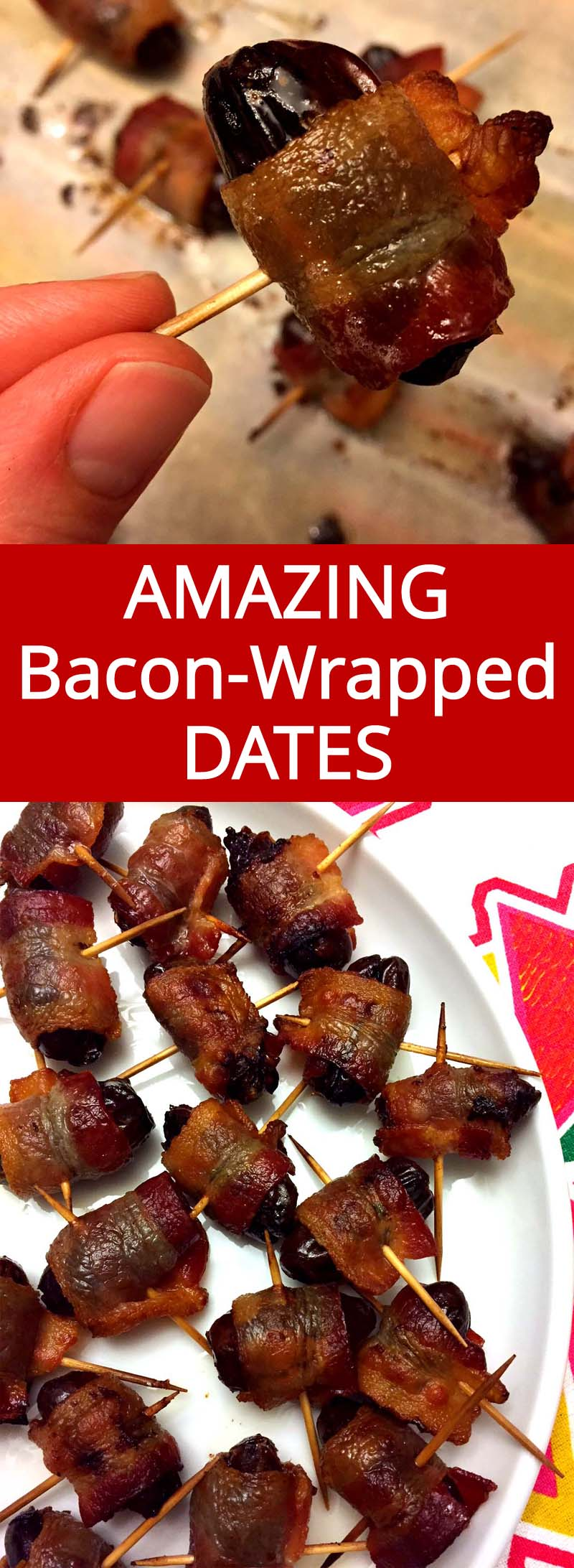 These bacon-wrapped dates are amazing! This is my favorite appetizer, they always disappear immediately! Super easy to make too! Everyone loves bacon wrapped dates!