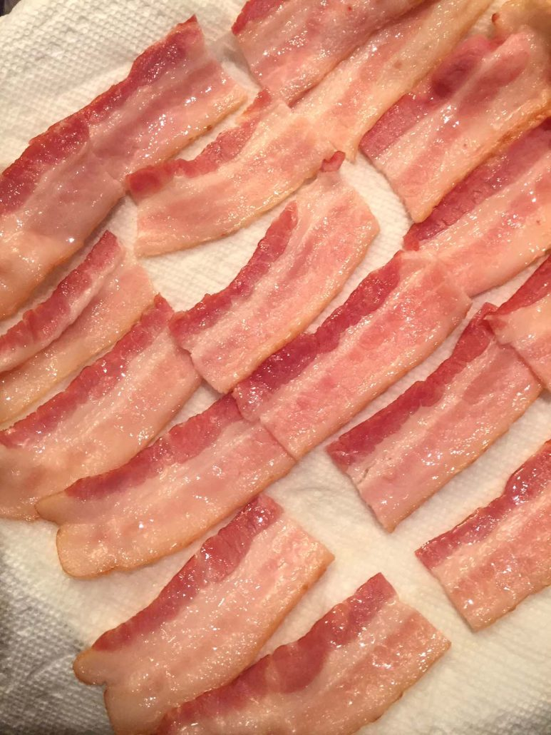 Cut bacon strips in thirds