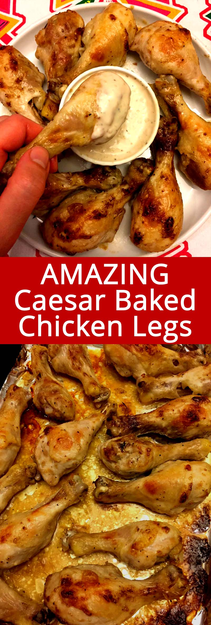 These mouthwatering baked chicken legs are marinated in Caesar dressing - genius! Who knew that Caesar dressing makes a perfect chicken marinade?