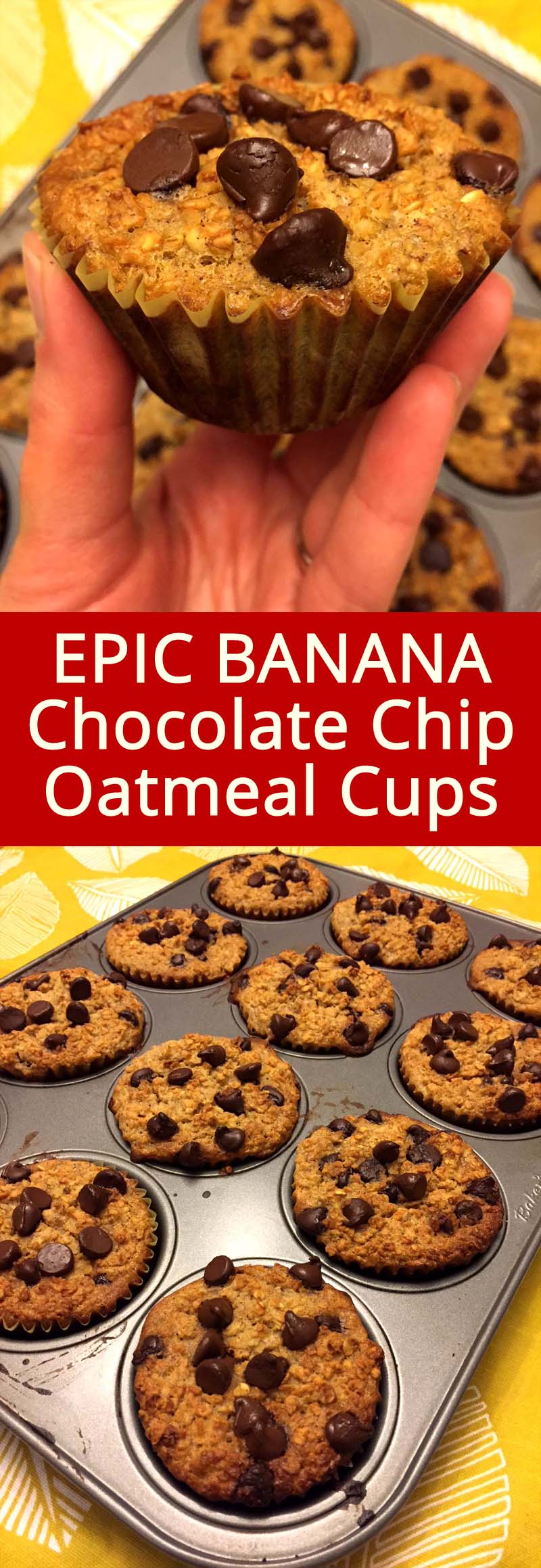 These banana chocolate chip baked oatmeal cups are my favorite breakfast!  They taste so good and they are so healthy! I also have a stash of these baked oatmeal cups in the freezer so I can have them anytime I want!
