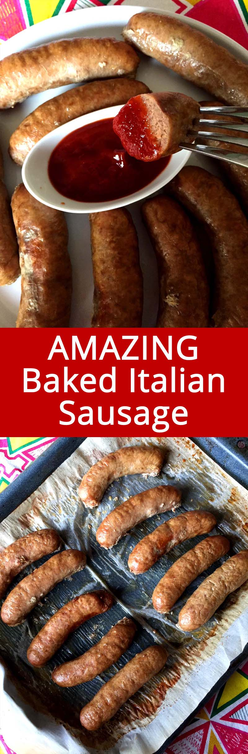 This oven baked Italian sausage is the easiest dinner ever! I always keep a package of Italian sausages in a freezer so I can make this dinner in a pinch! Just stick Italian sausages in the oven and bake to perfection - doesn't get easier that that! #sausage #italian