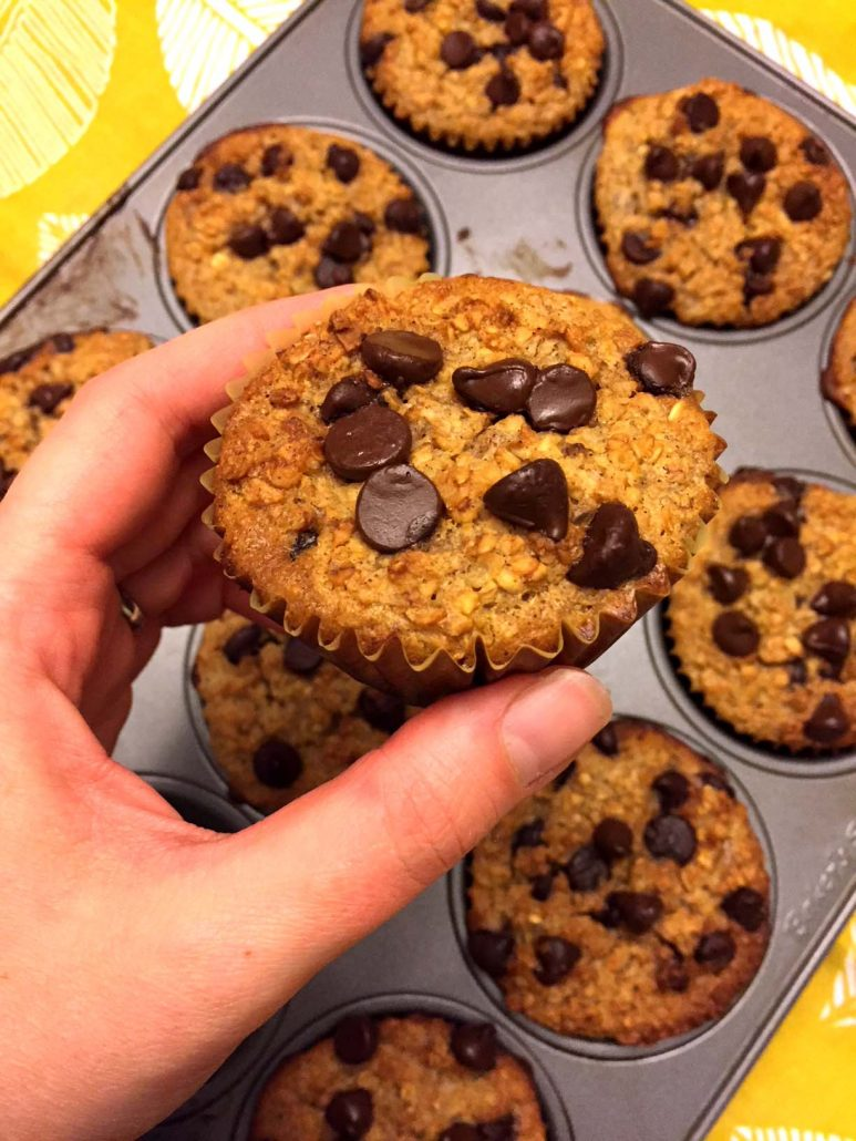 Banana Chocolate Chip Baked Oatmeal Cups