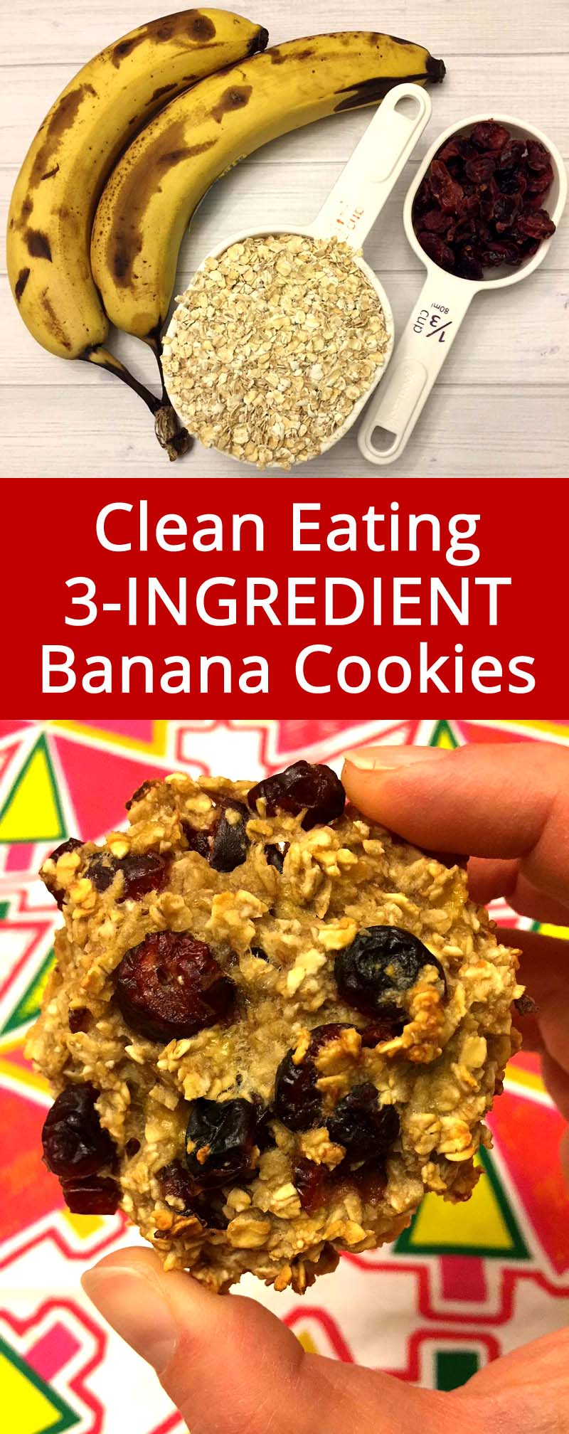 These 3-ingredient banana oatmeal cookies are the healthiest cookies ever! Low calorie, fat-free, gluten-free and sugar-free! Finally a cookie that is actually healthy and good for you! What a perfect clean eating recipe!